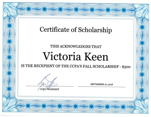 Congratulations Victoria Keen 500 2018 Fall Scholarship Central